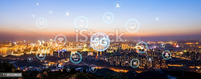 istock Wireless communication network concept.Panorama of Modern City 1135539656
