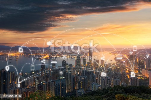 istock Wireless communication network in Big city concept. IoT(Internet of Things). ICT(Information Communication Technology) 1024552516