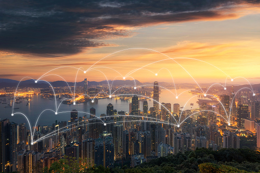 istock Wireless communication network in Big city concept. IoT(Internet of Things). ICT(Information Communication Technology) 1024552520