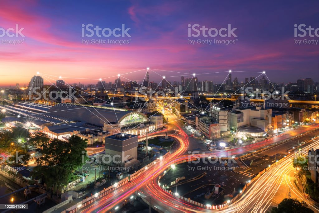 Wireless communication network in Big city concept. IoT(Internet of Things). ICT(Information Communication Technology) stock photo