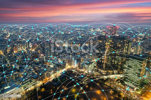 861165648 istock photo Wireless communication network in Big city in Asia concept. Abstract connection network  on Japan financial district background 1221232288