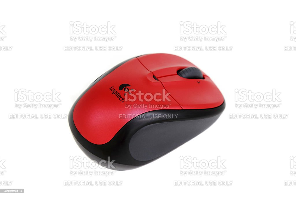 Wireless computer mouse manufactured by Logitech. stock photo