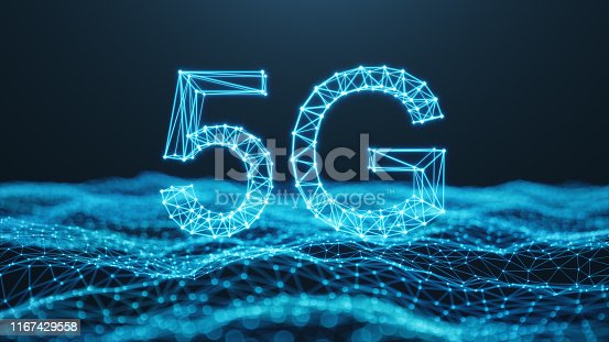 istock 5G wireless high-speed mobile Internet. Technology concept. High speed internet. Concept smartphone internet connection technology. Abstract illustration internet connection. 3D Illustration 1167429558
