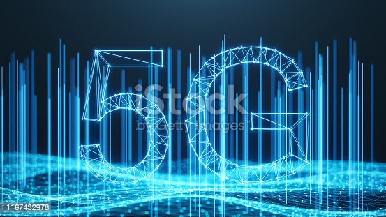 istock 5G wireless high-speed mobile Internet. Technology concept. High speed internet. Concept smartphone internet connection technology. Abstract illustration internet connection. 3D Illustration 1167432978