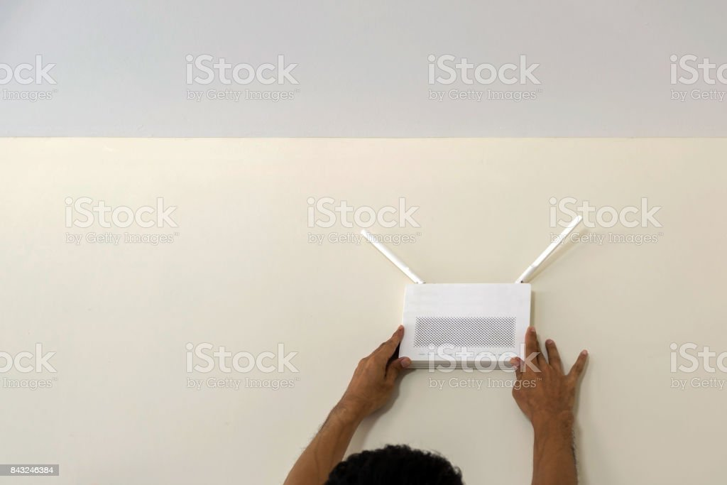 wireless internet access point stock photo