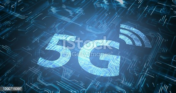 istock 5G wireless internet network symbol. Circuit in background. 3D rendered illustration. 1200715397