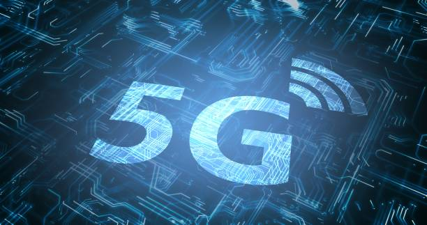 5G wireless internet network symbol. Circuit in background. 3D rendered illustration. stock photo