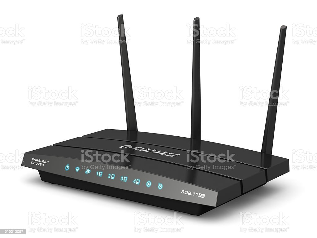 Wireless internet router stock photo
