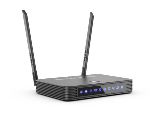 Drahtloser Internet-Router WI-Fi mit aufhellenden Piktogrammen isoliert auf weißem Hintergrund 3d – Foto