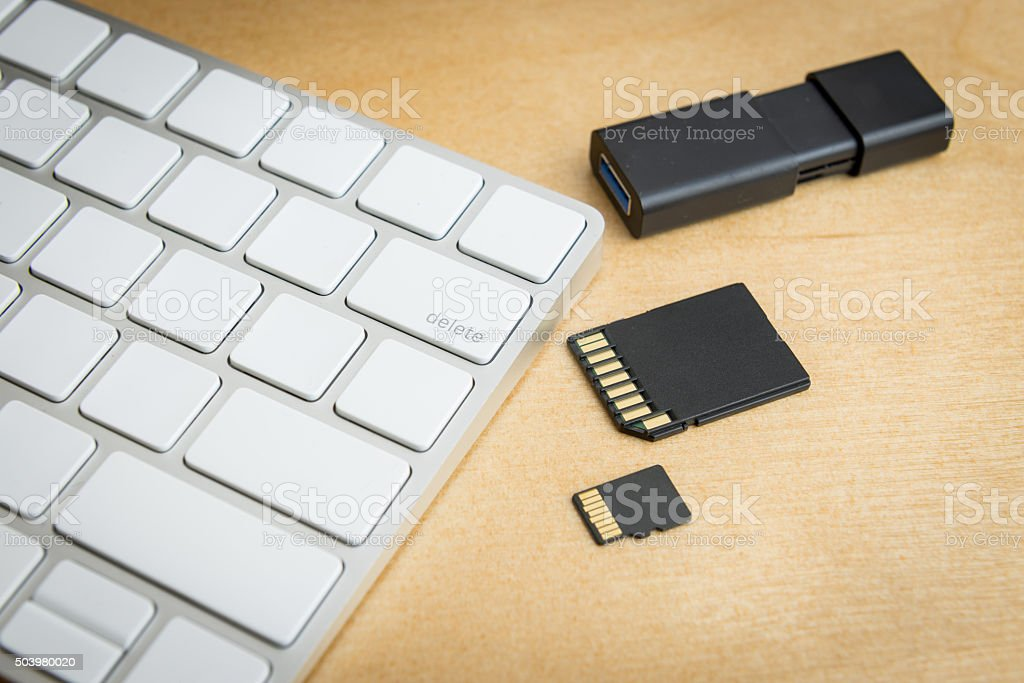 wireless keyboard delete button and memory storages stock photo