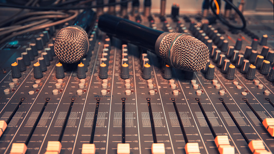 Wireless Microphone On The Audio Mixer In The Conference Room Stock Photo Download Image Now Istock