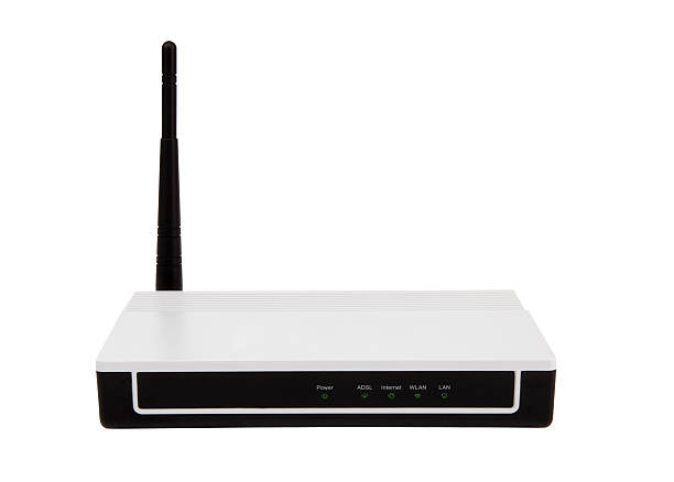 modem wireless router clipping path - router foto e immagini stock
