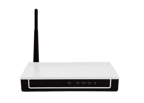 w-lan router clipping path modemanschluss - router stock-fotos und bilder