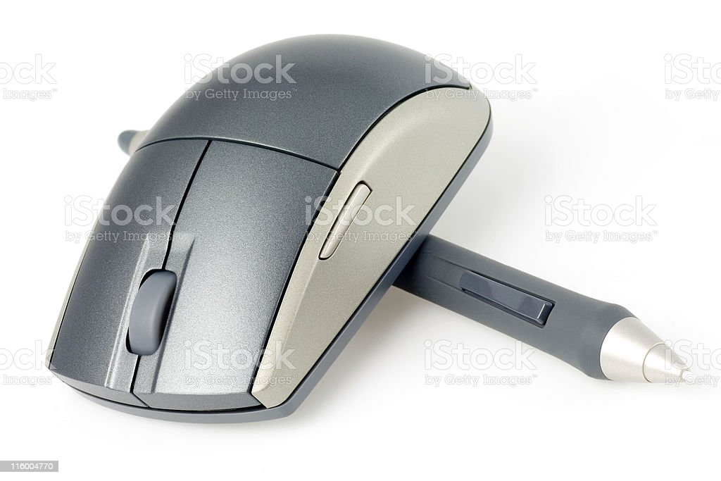Wireless mouse and digital pen stock photo