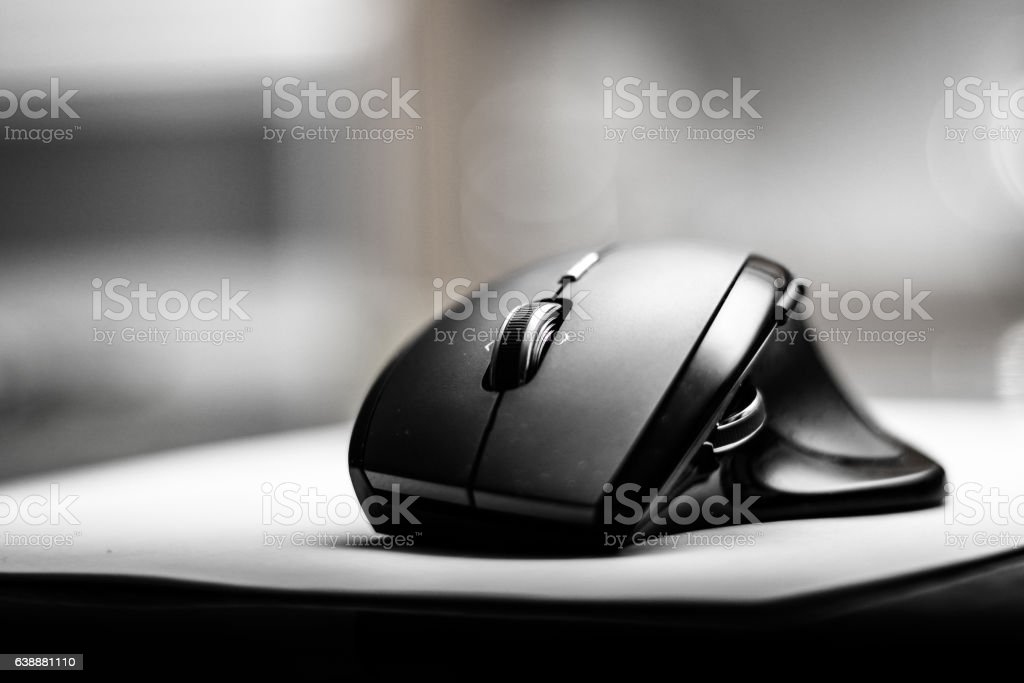 Wireless mouse in black and white stock photo