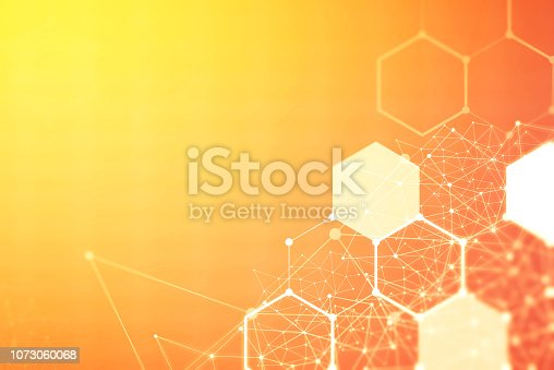 istock Wireless network connection technology background concept. Hexagon shapes pattern and connection lines on red background. 1073060068