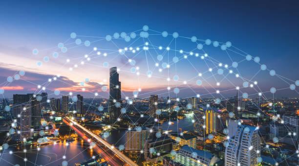 Wireless network technology smart city stock photo