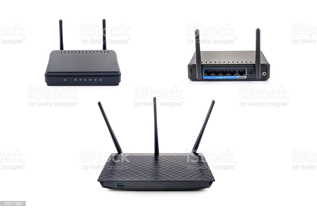 Wireless router set isolated on white background stock photo