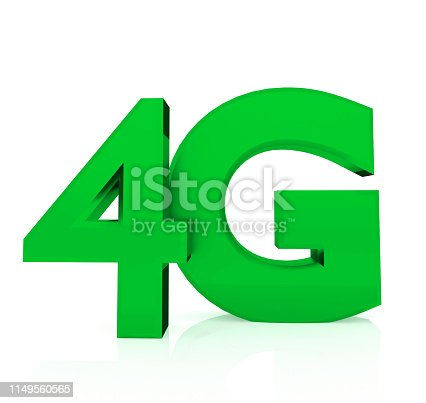 istock 4G Wireless sign. Mobile telecommunication concept. Isolated white background. 3D renering 1149560565