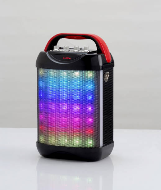 wireless speaker with colorful lights isolated stock photo
