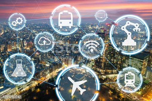 861165648 istock photo Wireless technology, Chemical, Industry, Transportation Abstract of smart city on Tokyo city background 1221232242