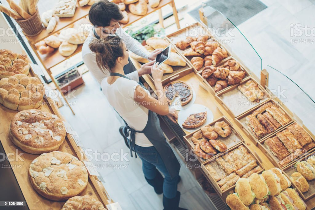 Wireless technology in the bakery stock photo