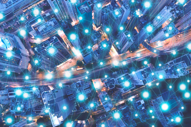 Wireless technology, Internet of things concept, Smart city connected by intelligence network, Abstract visual futuristic background stock photo