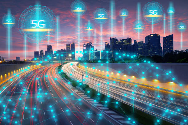 Wireless technology, telecommunication concept, Smart city connect by high-speed 5G technology stock photo