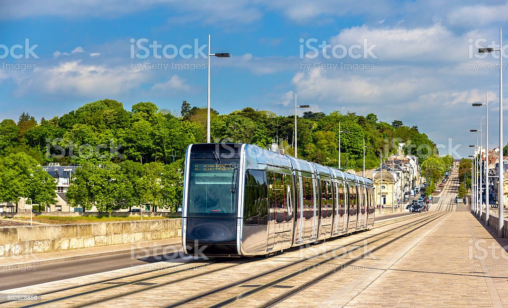 Wireless tram on Pont Wilson Bridge in Tours - France stock photo