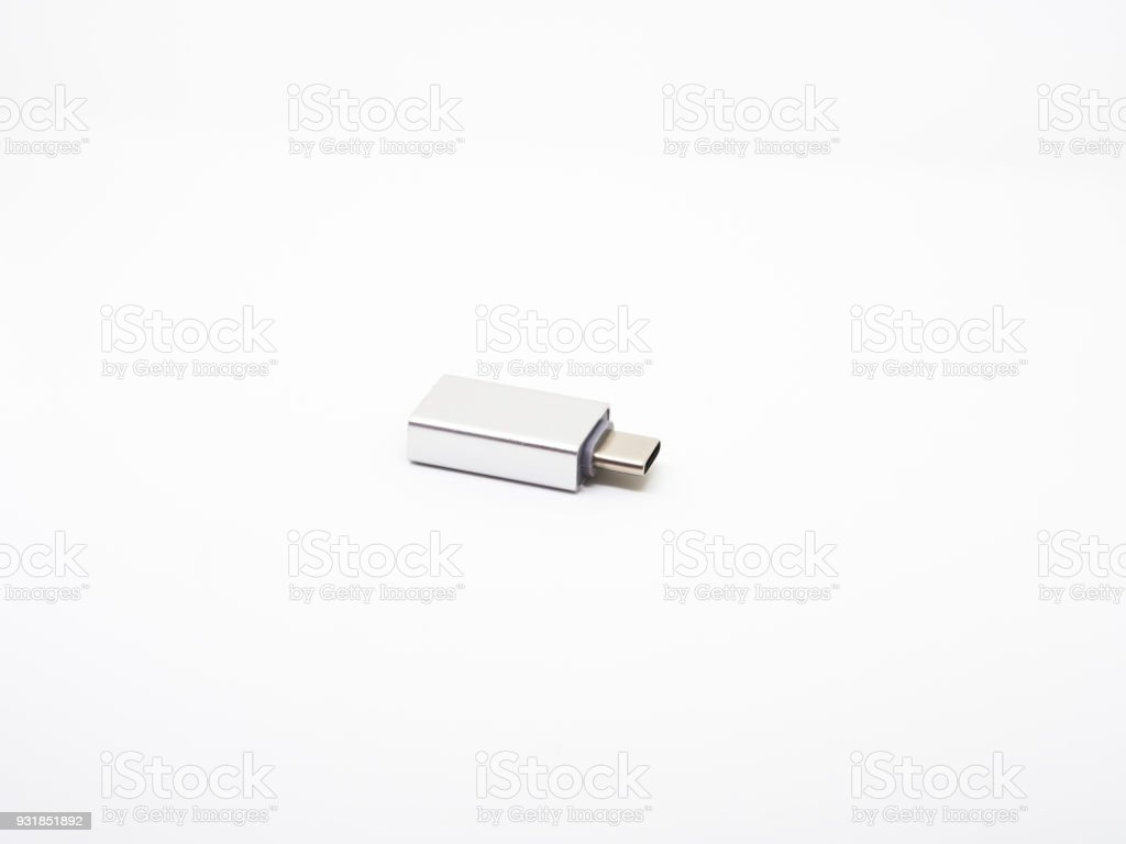Wireless usb-c otg for digital devices on white background. stock photo