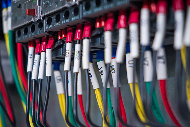 wires and  industrial electrical control panel - fuse box stock photos and pictures