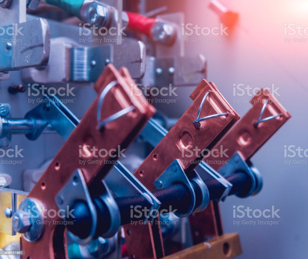 Wires And Switches In Electric Box Electrical Panel With Fuses Contactors Royalty Free