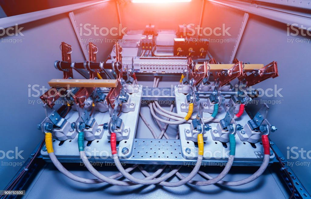 wires and switches in electric box  electrical panel with fuses and  contactors royalty-free
