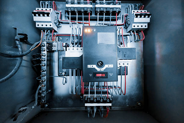 wires in box - fuse box stock photos and pictures