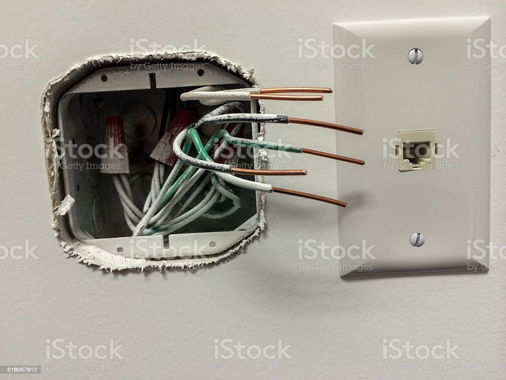 wires in electrical box stock photo more pictures of box rh istockphoto com Home Structured Wiring Home Network Wiring Diagram