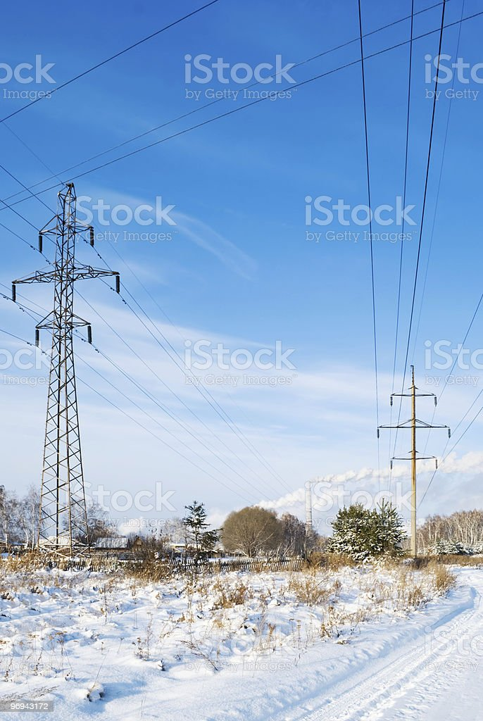 wires of electricity transmissions royalty-free stock photo
