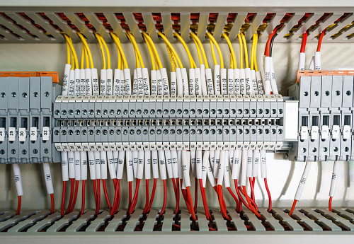 Wiring Plc Control Panel With Wires Industrial Factory Stock Photo - Download Image Now