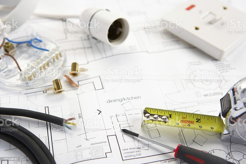 Wiring tools and materials stock photo