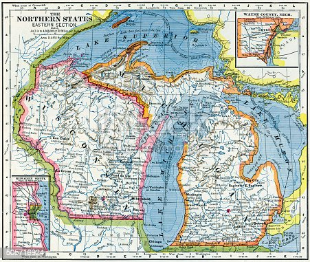 Map of Michigan and Wisconsin, USA from 1883.