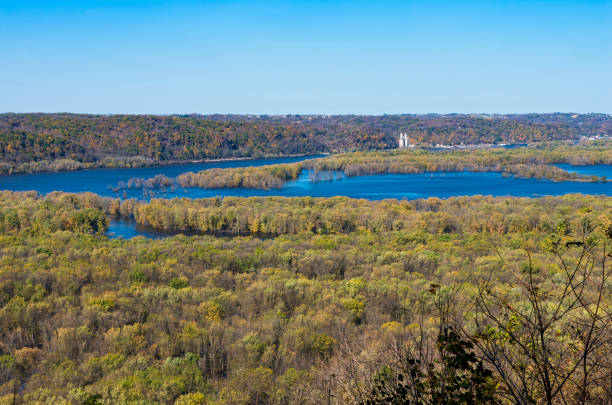 Wisconsin and Mississippi Rivers Confluence at Wyalusing stock photo
