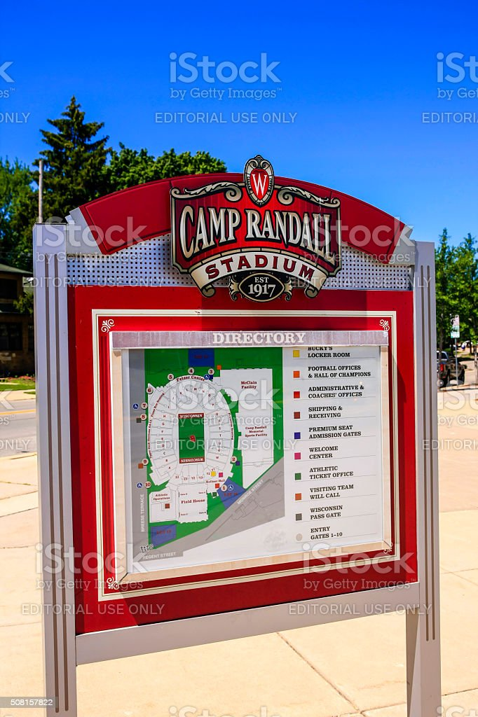 Wisconsin Camp Randall football Stadium map sign stock photo