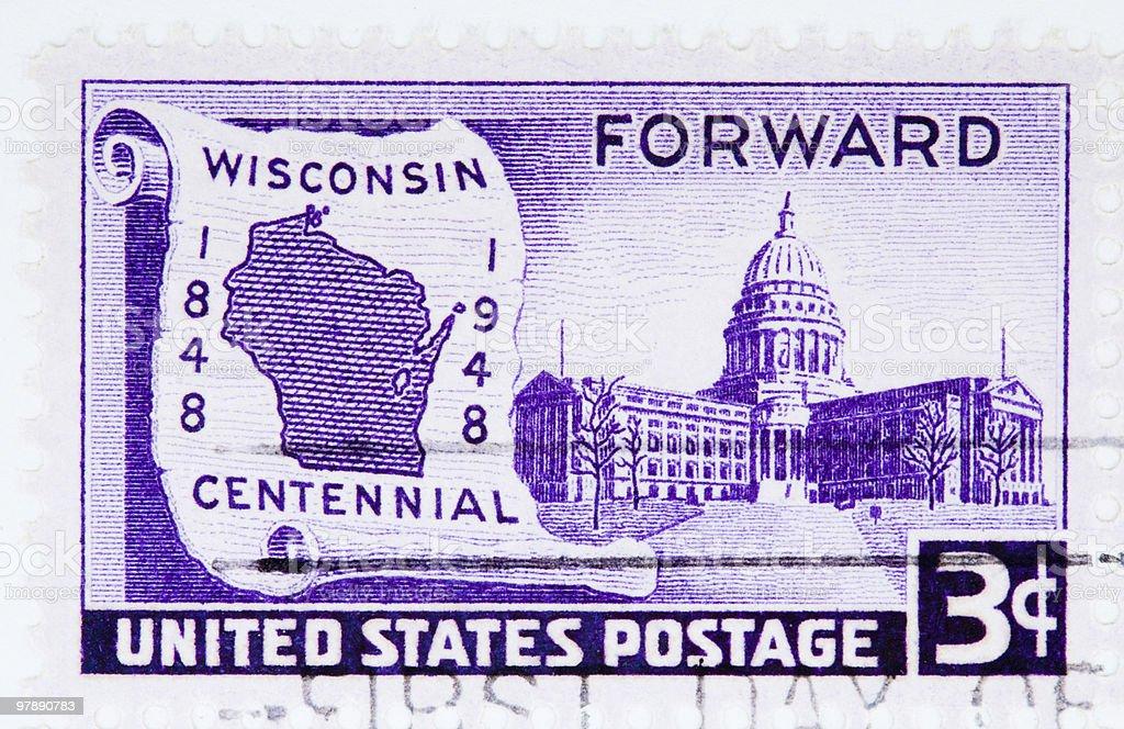 Wisconsin Centennial, circa 1948 Stamp royalty-free stock photo