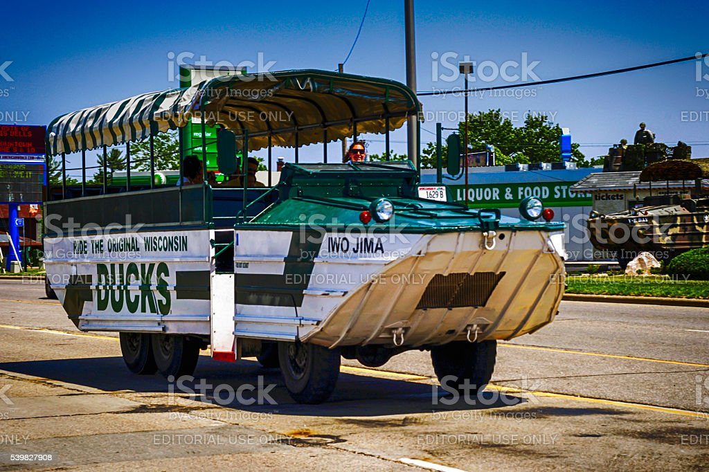 Wisconsin Ducks tour vehicle in the Dells stock photo