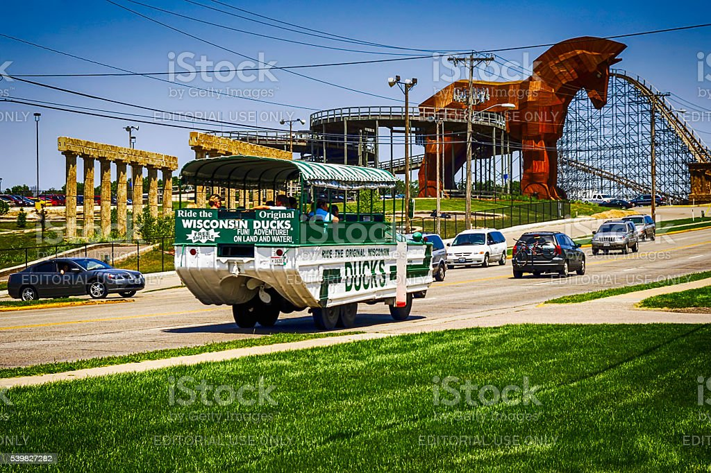 Wisconsin Ducks tour vehicle in the Dells resort stock photo