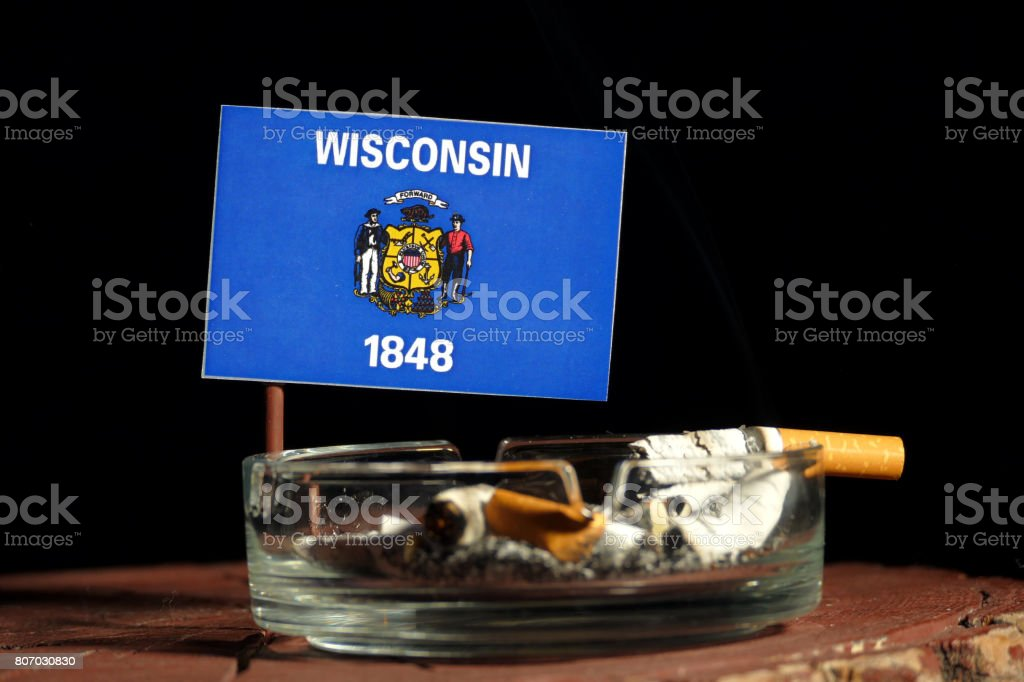 Will Wisconsin Become Ashtray Of >> Wisconsin Flag With Burning Cigarette In Ashtray Isolated On Black