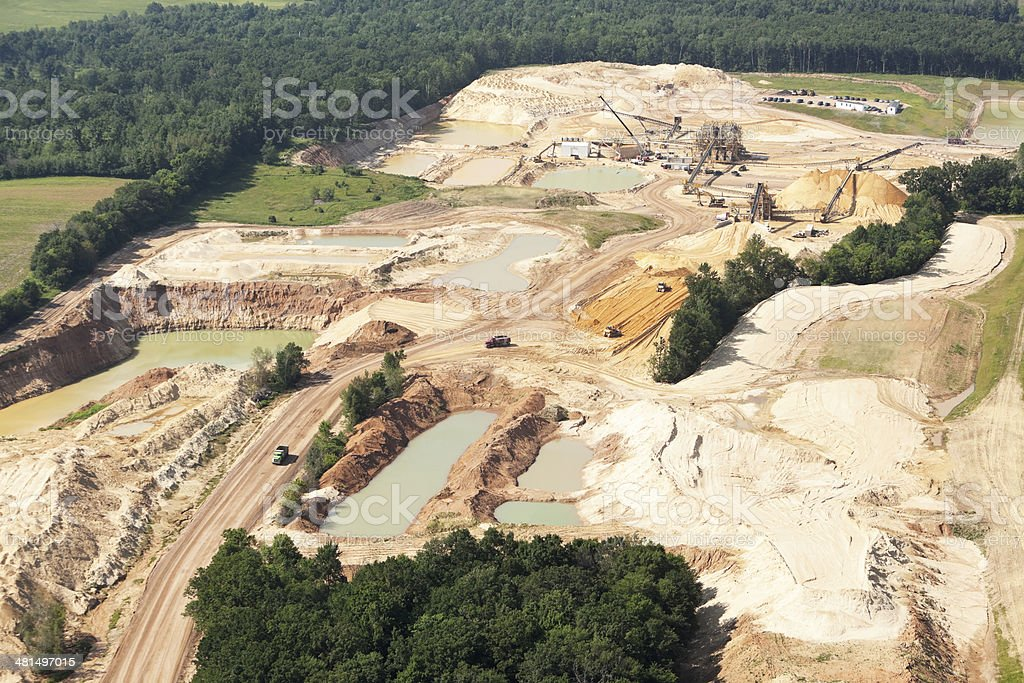 Wisconsin Frac Sand Mine Under Construction with Equipment stock photo