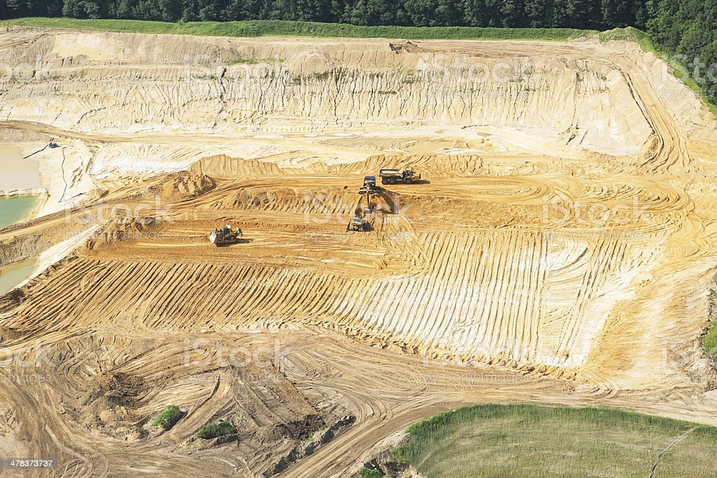 Wisconsin Frac Sand Mine with Equipment stock photo