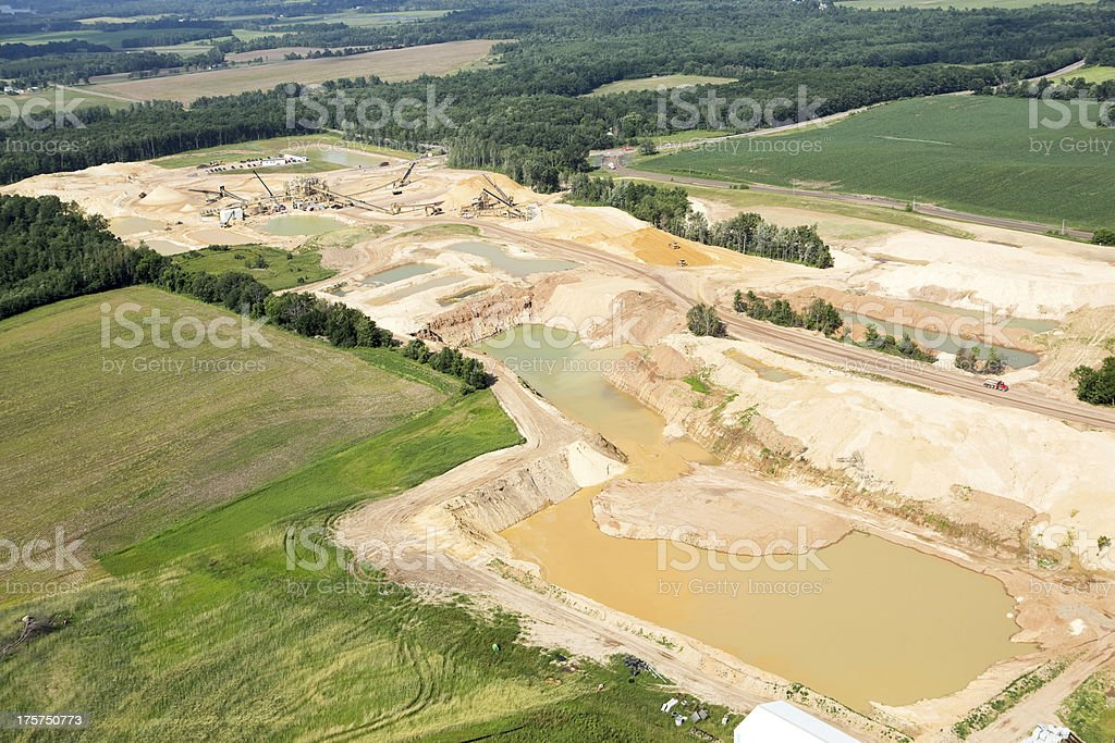 Wisconsin Frac Sand Mining Operation Aerial View stock photo