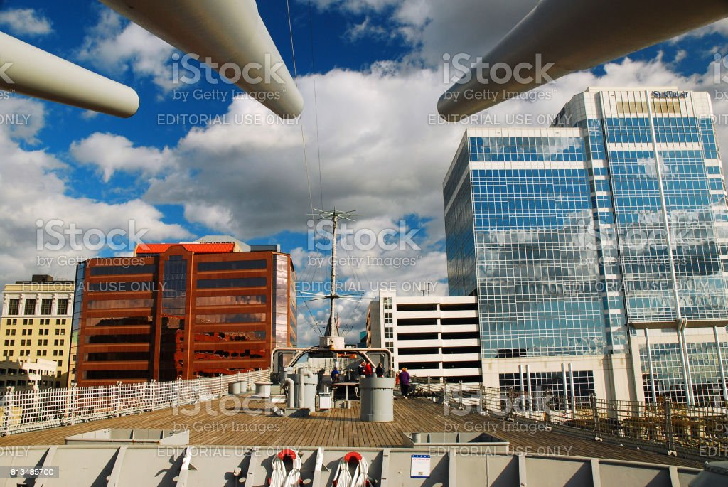 USS Wisconsin in Norfolk, Virginia stock photo