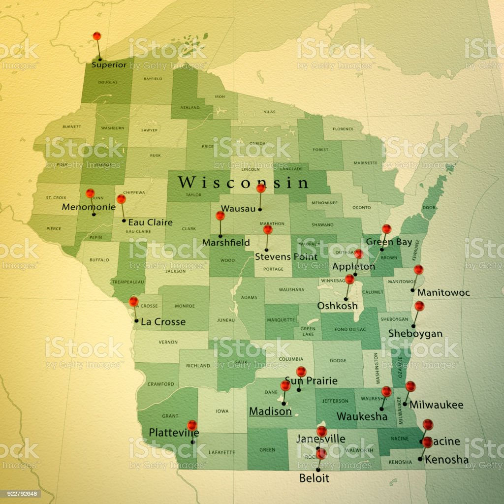 Wisconsin Map Square Cities Straight Pin Vintage Stock Photo More